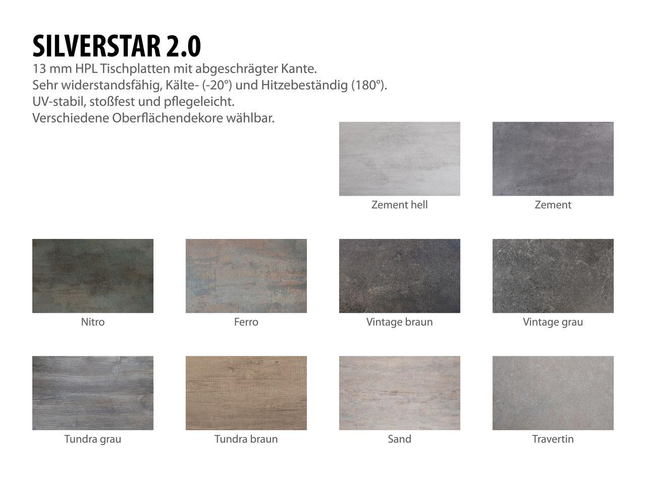 Gartentisch 250x100cm Aluminium weiß/Silverstar 2.0