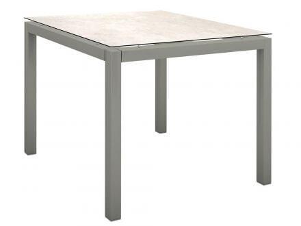 Stern Gartentisch 90x90cm Aluminium graphit/Silverstar 2.0 Travertin