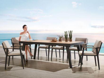 Vorschau: Lünse Alu-Teak Dining-Tisch Regency 220x90cm