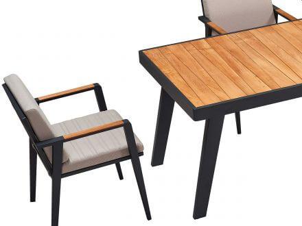 Vorschau: Lünse Alu-Teak Dining-Tisch Regency 160x90cm