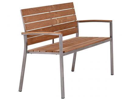 Vorschau: Lünse Edelstahl Teakholz Gartenbank Valis 120cm 2-Sitzer