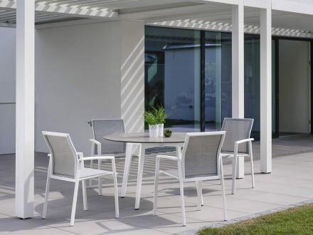 Vorschau: Stern Gartentisch Ø134cm HPL Aluminium weiß