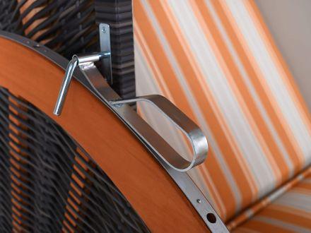Vorschau: Lünse Strandkorb Carabic XL PE-Coffee orange-beige gestreift