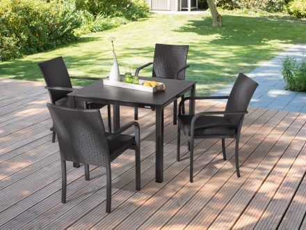 Vorschau: Kettler Bistro Stapelsessel Beispielbild mit Kettalux-Plus Gartentisch