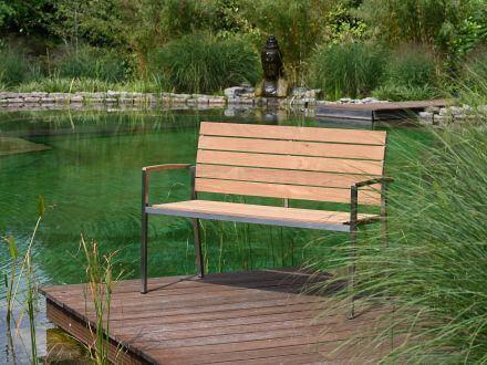 Vorschau: Lünse Edelstahl Teakholz Gartenbank Valis 120cm 2-Sitzer Ambientebild