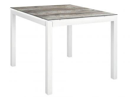 Stern Gartentisch 80x80cm Aluminium weiß/Silverstar 2.0 Tundra grau