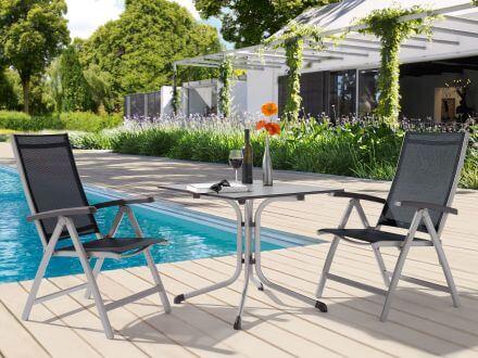 Vorschau: Sieger Puroplan Klapptisch quadratisch, Ambientebild im Garten
