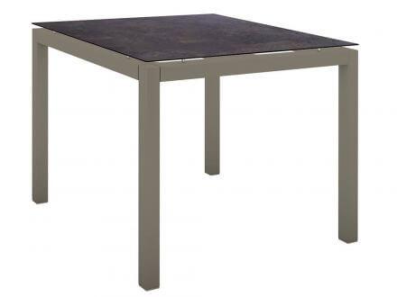 Stern Gartentisch 90x90cm Aluminium taupe/Silverstar 2.0 Vintage braun