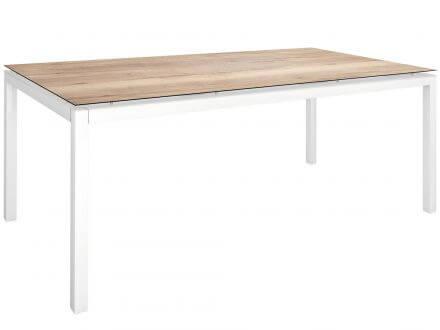 Vorschau: Stern Gartentisch 200x100cm Aluminium weiß/Silverstar Touch Tundra natur