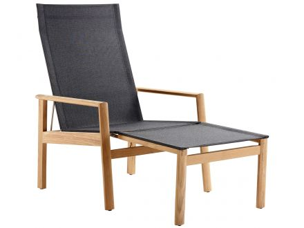 Solpuri Deckchair Safari inkl. Hocker Teak / Softex coal