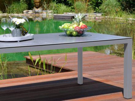 Vorschau: Alu Gartentisch mit Glas / Keramik Tischplatte