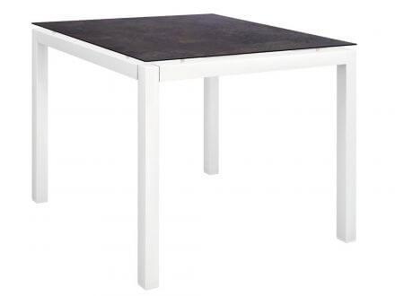 Stern Gartentisch 90x90cm Aluminium weiß/Silverstar 2.0 Vintage braun