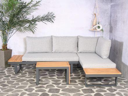 Vorschau: Lünse Multifunktionales Alu Holz Loungeset Olympia