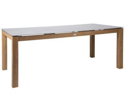 STERN Tisch 200x100cm Teak mit Tischplatte Dekton Lava hellgrau