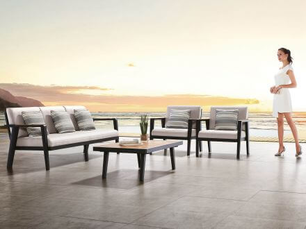 Vorschau: Lünse 4-teiliges Alu-Teak Loungeset Regency Large Sofa