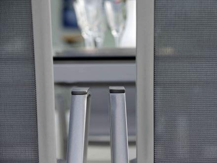 Vorschau: Alu Stapelsessel Ron Detailbild Textilen silbergrau