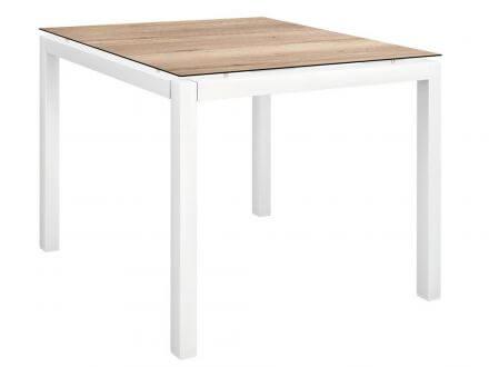 Vorschau: Stern Gartentisch 80x80cm Aluminium weiß/Silverstar Touch Tundra natur