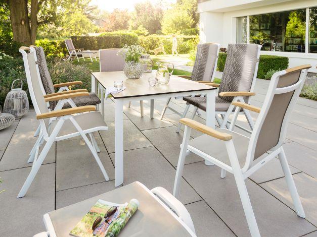 Kettler Memphis weiß/beach-grey, Sitzgruppe im Garten