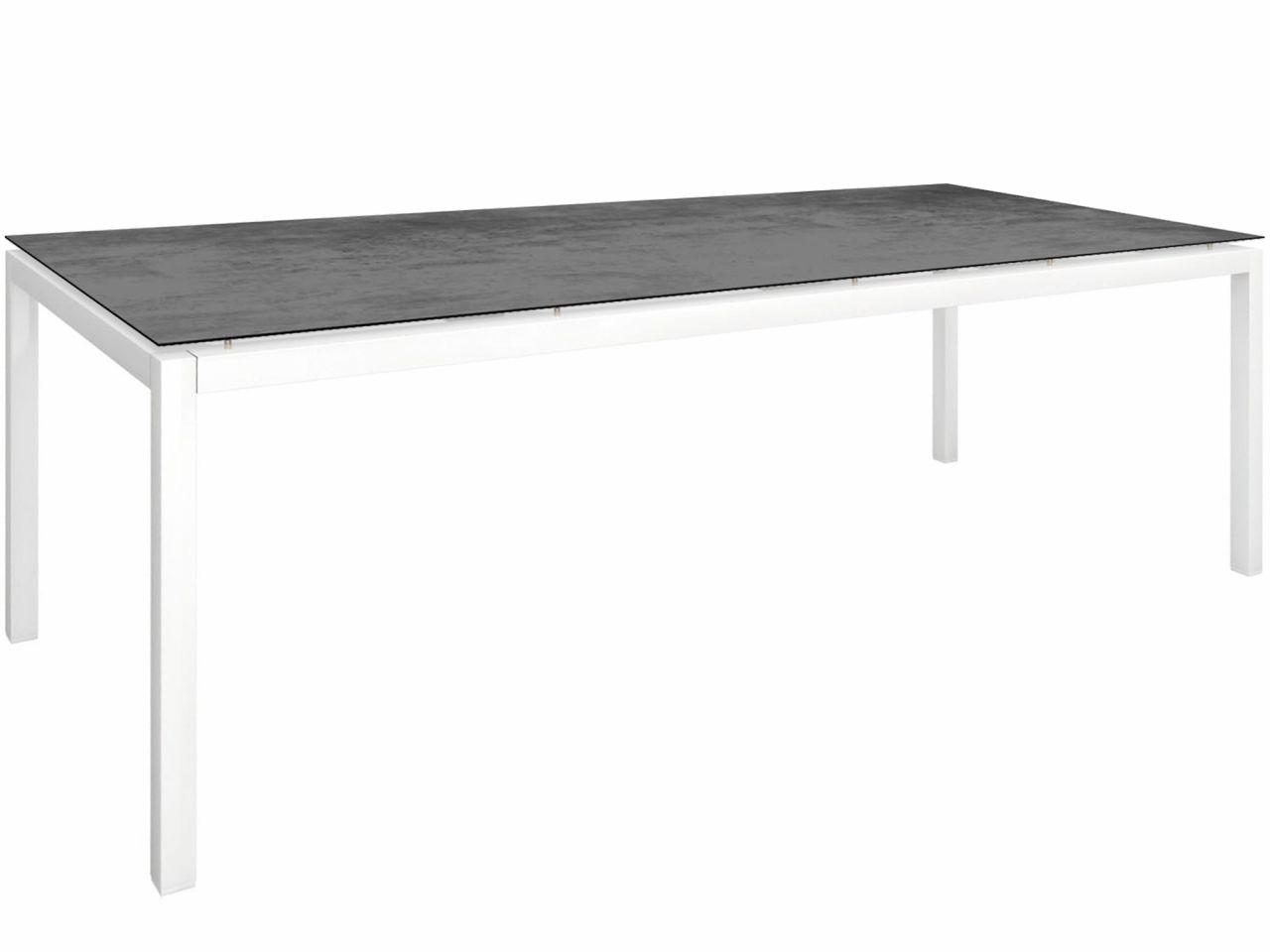 Stern Gartentisch 250x100cm Aluminium weiß/Silverstar 2.0 Zement