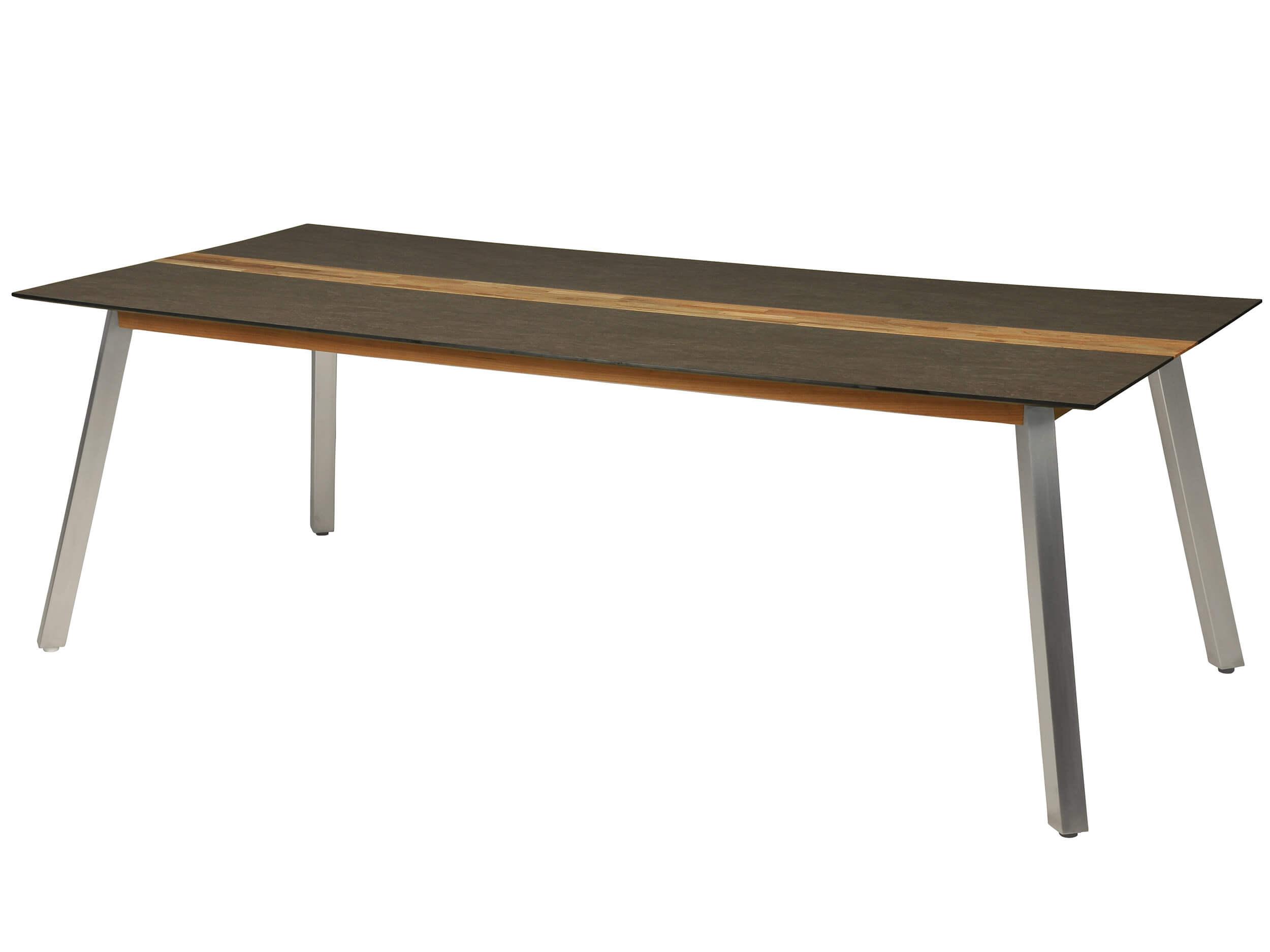 Gartentisch Linax 220x100cm HPL Edelstahl Teak
