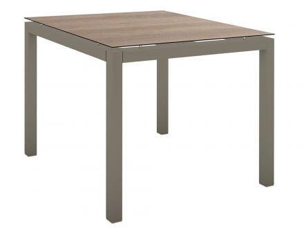 Stern Gartentisch 90x90cm Aluminium taupe/Silverstar 2.0 Tundra braun