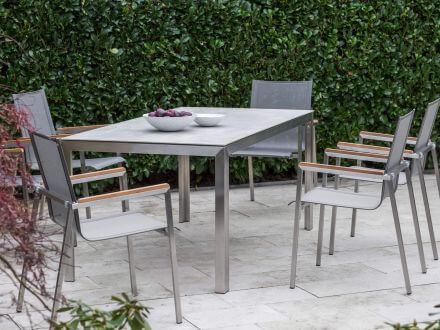 Vorschau: Niehoff Tisch Status 180x90cm Edelstahl Keramik hellgrau