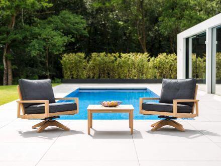 Vorschau: Alexander Rose Roble Holz Swivel Lounge Chair Drehsessel