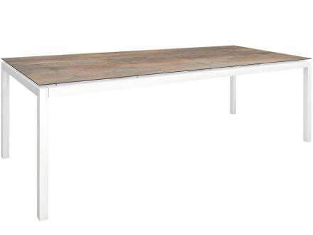 Stern Gartentisch 250x100cm Aluminium weiß/Silverstar 2.0 Ferro