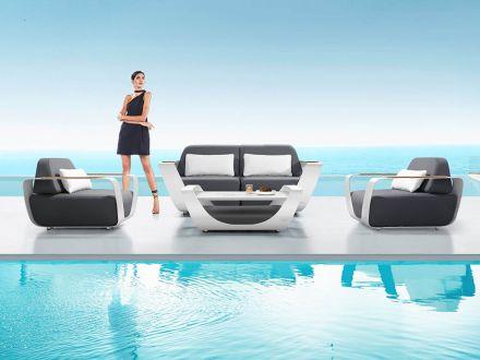 Vorschau: HIGOLD ONDA Loungeset Alu Teak Ferrari-Leder Design by pininfarina