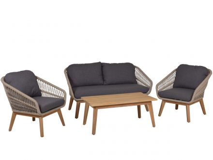 Lünse Rope Teak Loungeset Orchid 4-teilig shaded-beige