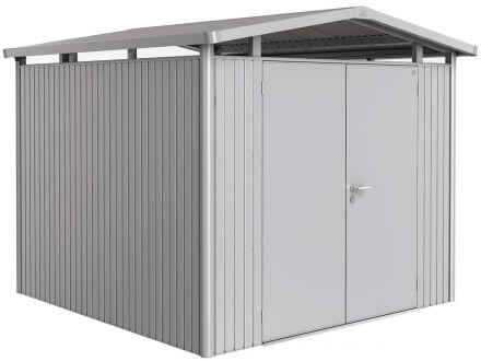 Gerätehaus Panorama® P4 silber-metallic mit Doppeltüre