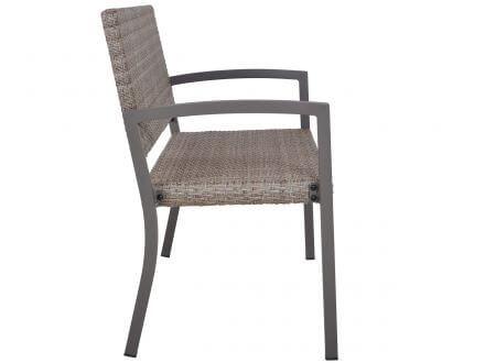 Vorschau: Alu-Geflecht Gartenbank Marbella 2-Sitzer 116cm taupe Seitenansicht