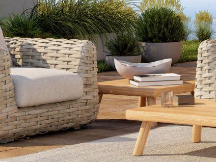 Vorschau: Tierra Outdoor Teakholz Lounge Tisch Wakkanda 80x80cm
