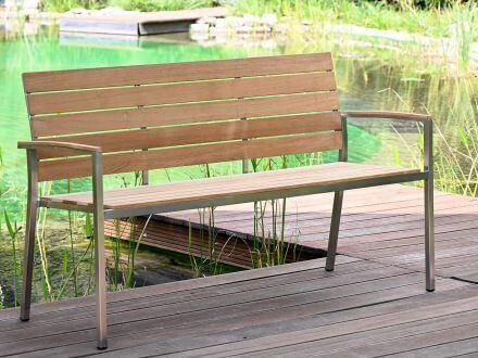 Vorschau: Lünse Edelstahl Teakholz Gartenbank Valis 150cm 3-Sitzer Ambientebild
