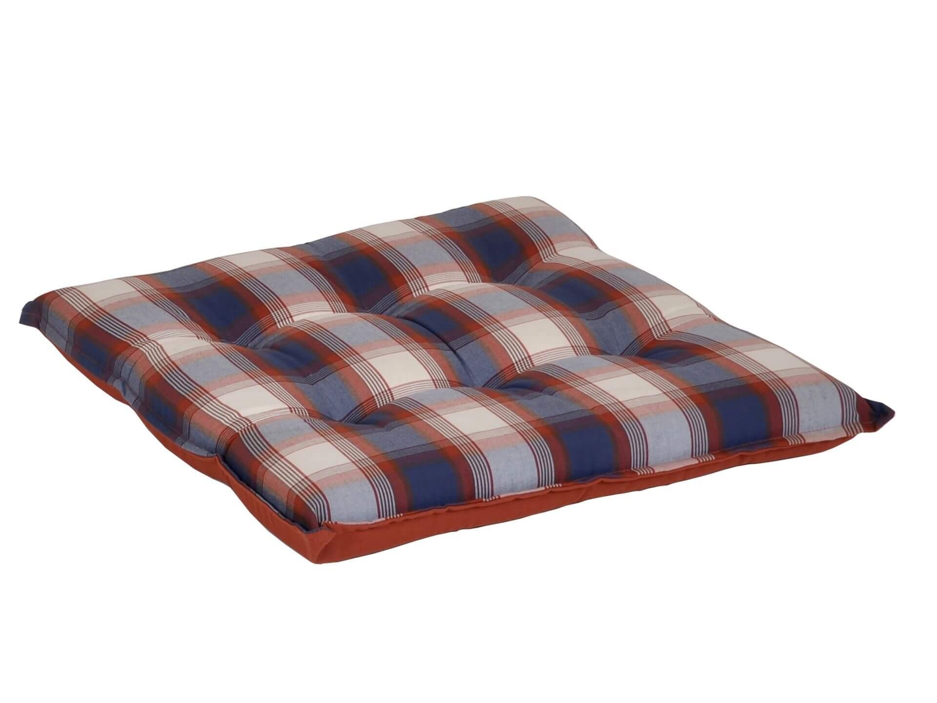 Sitzkissen blau-rot-kariert 50x50cm