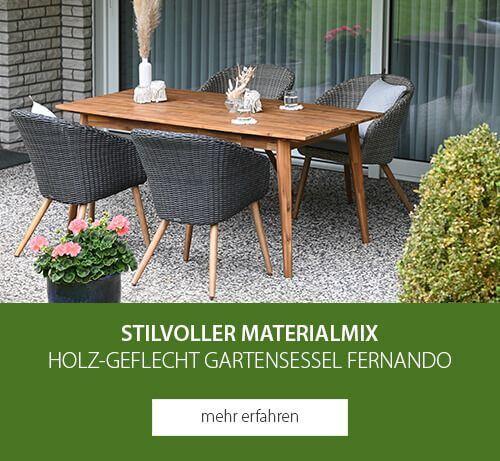 Stilvoller Materialmix - Holz-Geflecht Gartensessel Fernando