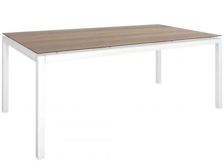 Vorschau: Stern Gartentisch 200x100cm Aluminium weiß/Silverstar 2.0 Tundra braun