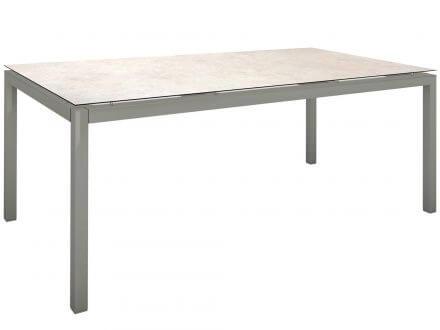Vorschau: Stern Gartentisch 200x100cm Aluminium graphit/Silverstar 2.0 Travertin