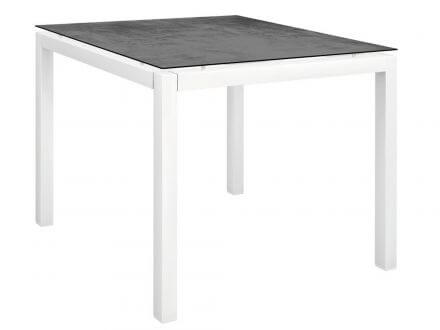 Stern Gartentisch 90x90cm Aluminium weiß/Silverstar 2.0 Zement