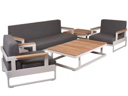 Vorschau: Lünse Alu Teakholz Design Loungemöbel-Set Amber cream
