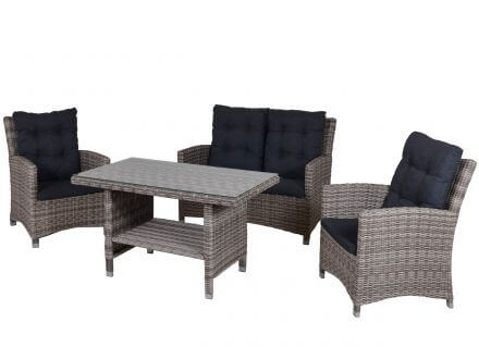 TRENDY by deVries Allana Dining-Lounge 4-teilig Geflecht natural sand