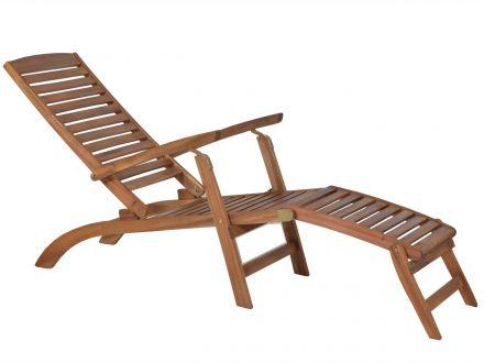 Vorschau: Lünse Holz Deckchair Bali - Lehne mehrfach verstellbar