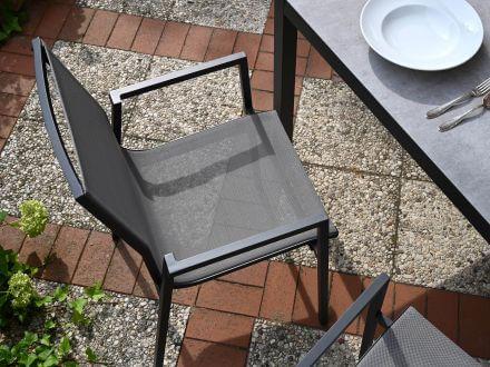 Vorschau: Lünse Aluminium Stapelsessel Rubino anthrazit|silver