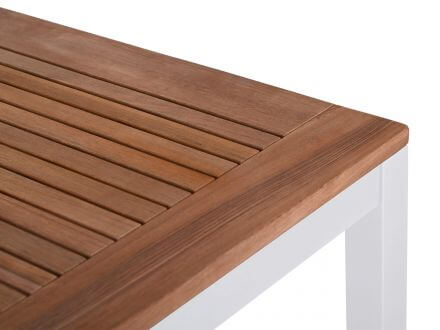 Vorschau: Lünse Alu Teak Gartentisch Mandarin 200x100cm weiß