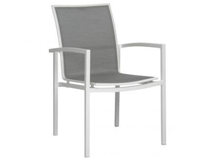 Stern Skelby Stapelsessel Aluminium mit Textilenbezug