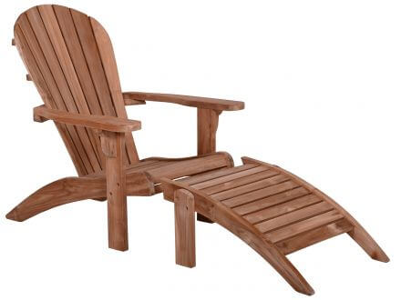 Lünse Teak Adirondack Chair Silfia mit Fußhocker