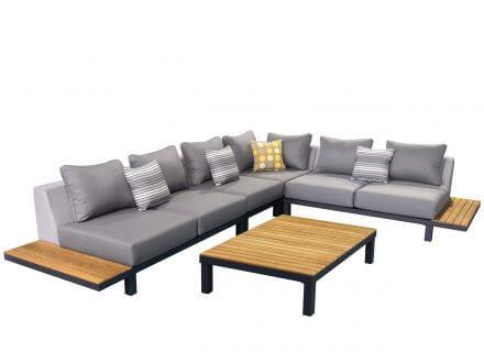 Lünse 5-teilige Alu Teak Plattform-Lounge Katamaran anthracite