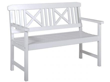 Lünse Holzgartenbank weiß Husum 120cm 2-Sitzer