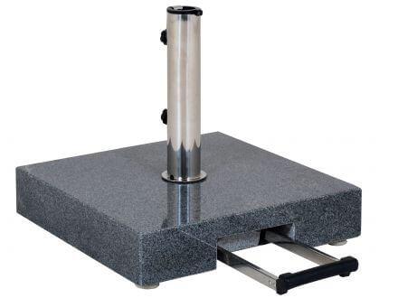 Schirmständer 45kg Granit anthrazit 45x45cm Teleskopgriff & Rollen
