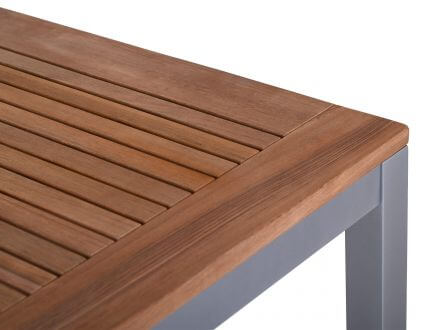 Vorschau: Detailbild Oberfläche Teakholz-Tischplatte